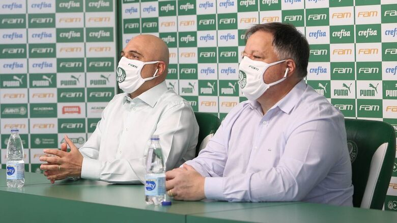 Mauricio Galiotte e Anderson Barros, do Palmeiras - Crédito: Cesar Greco / Ag. Palmeiras