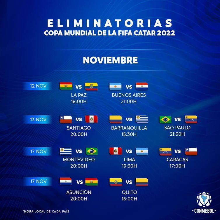 Eliminatórias: Conmebol confirma datas e horários das próximas rodadas -