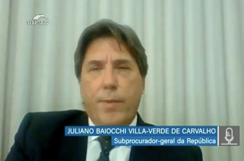 Subprocurador-geral da República, Juliano Baiocchi na audiência remota da comissão que acompanha o enfrentamento aos incêndios no Pantanal - Crédito: Reprodução TV Senado