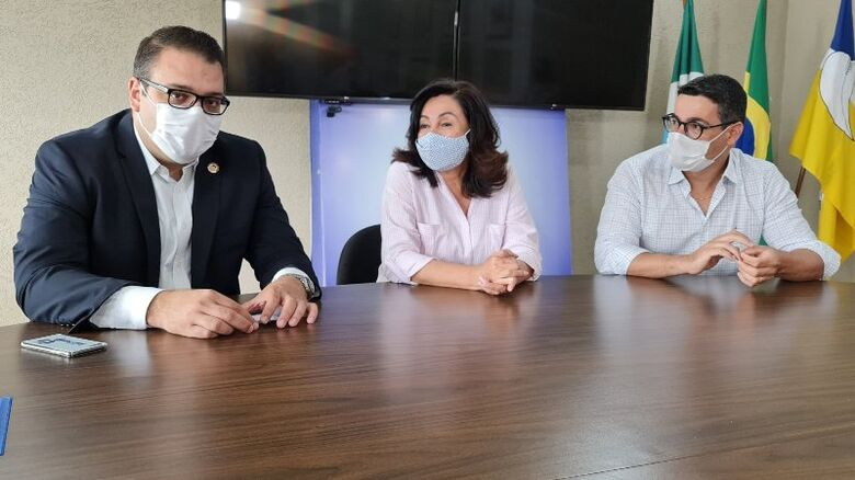Prefeita recebeu Guedes e o vice Dr. Guto - Crédito: Divulgação