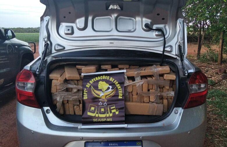 Veículo com mais de 780kg de maconha é apreendido na MS-166 - Crédito: Divulgação/DOF