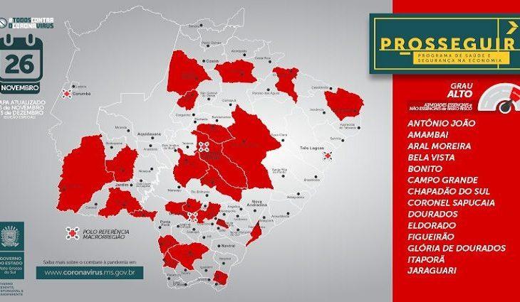 Prosseguir: Governo do MS registra aumento de municípios na faixa vermelha -