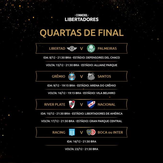 Libertadores: Conmebol divulga datas e horários das quartas de final -