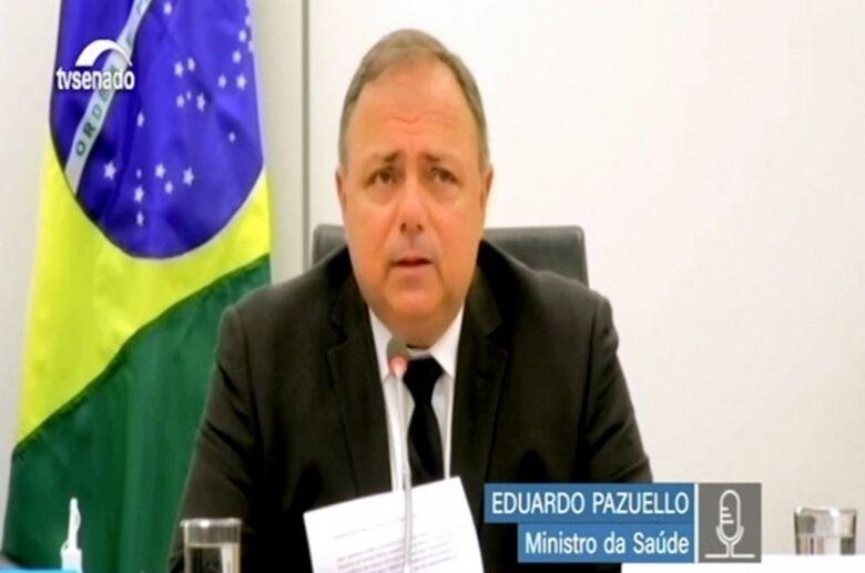 Pazuello compareceu à reunião remota para falar sobre a gestão de testes de detecção de coronavírus - Crédito: Reprodução Tv Senado