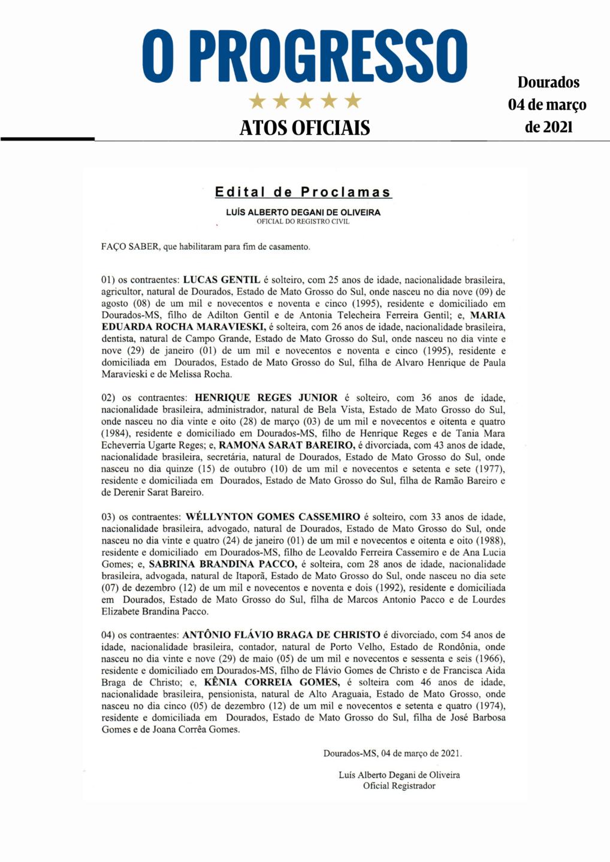 Editais de Proclamas - 4 de março de 2021