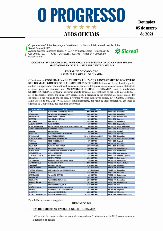 Sicredi - Edital de Convocação - Assembleia Geral Ordinária