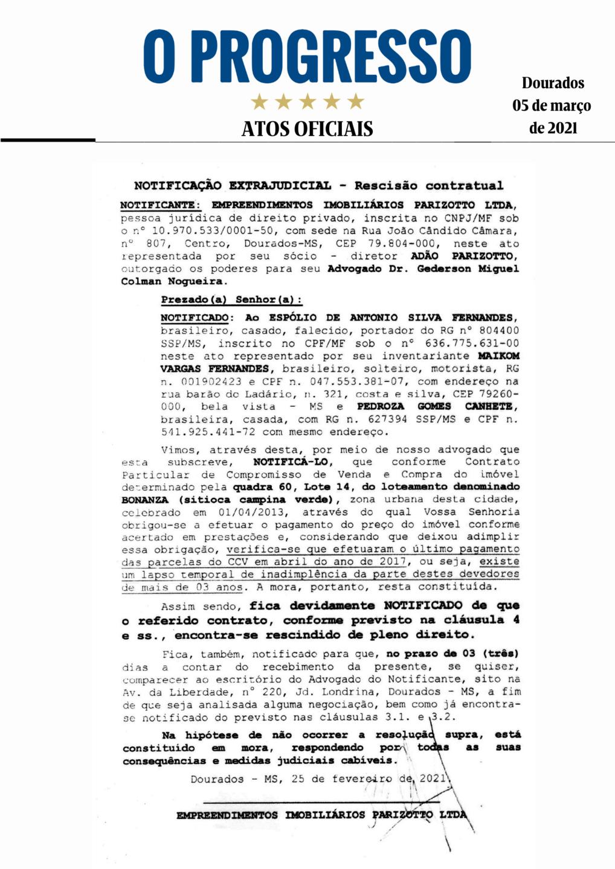 Notificação Extrajudicial - Rescisão contratual
