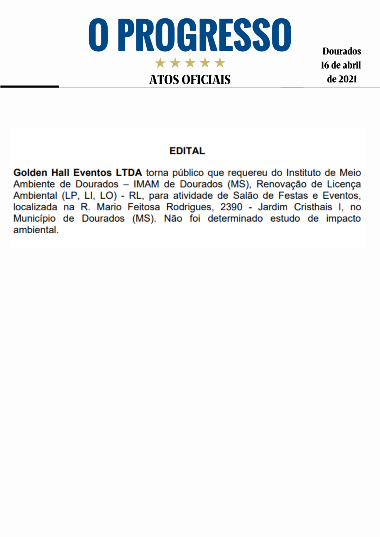 Edital - IMAM - Golden Hall Eventos LTDA