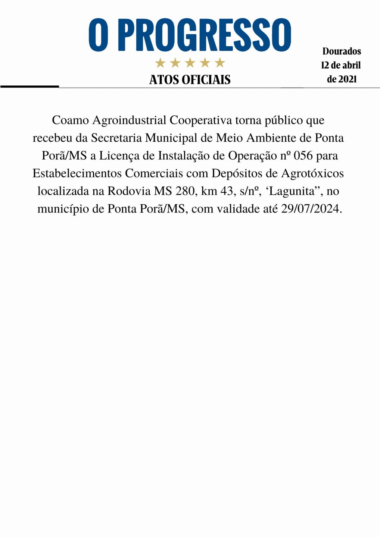 Edital de Licença Ambiental Coamo Lagunita