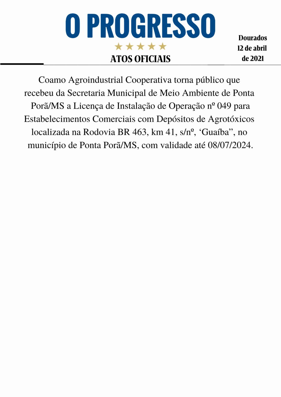 Edital de Licença Ambiental Coamo Guaíba