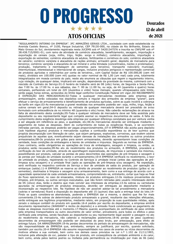 Regulamento Interno da Empresa - JFC Armazéns Gerais LTDA