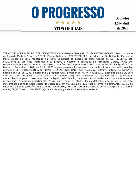 Termo de Nomeação de Fiel Depositário - JFC Armazéns Gerais LTDA