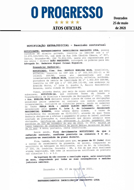 Notificação Extrajudicial - Rescisão Contratual - Espólio Edelira Roja