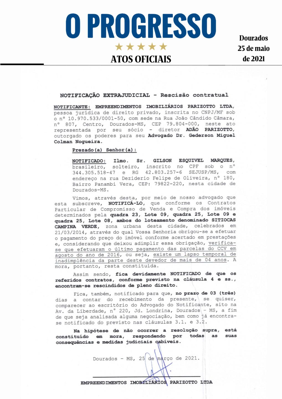 Notificação Extrajudicial - Rescisão Contratual - Gilson Esquivel Marques