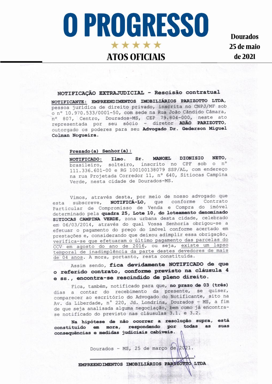Notificação Extrajudicial - Rescisão Contratual - Manoel Dionisio Neto