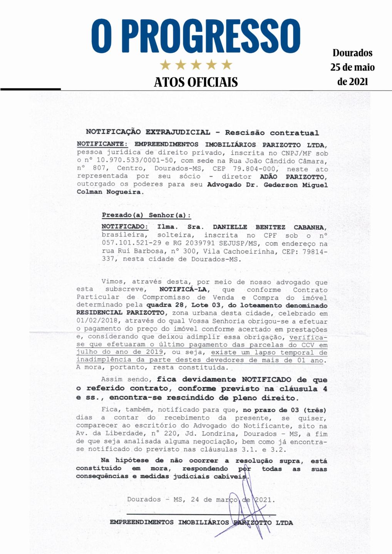 Notificação Extrajudicial - Rescisão Contratual - Danielle Benitez Cabanha